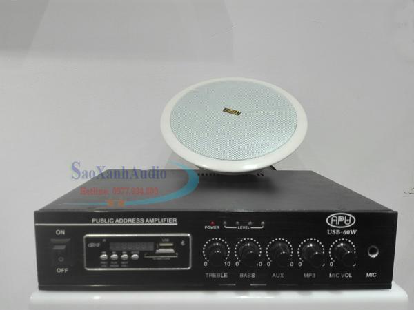 Loa âm trần APU CLS 606T và Amply APU 60w dùng cho hệ thống loa nghe nhạc spa