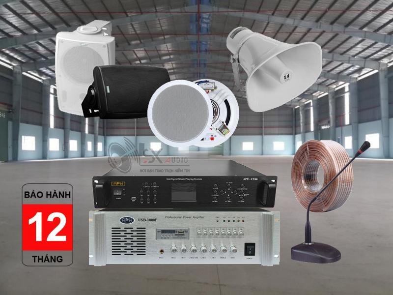 Các thiết bị trong hệ thống thộng báo chia vùng cho nhà xưởng, có báo giờ tự động